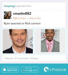 Do you prefer Ryan Seacrest or Nick Cannon? #AmericanIdol #HotOrNot #sexy #sexymen https://choiceapp.co/cmartin882/post/9645
