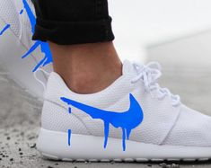 Nike Roshe Run One White with Custom Blue Candy Drip Swoosh Paint