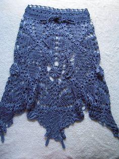 Handmade crochet skirt/boho skirt in blue silk by by GoldenYarn, $210.00 in denim blue