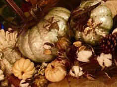 Our Thanksgiving Table...love my table this year with the metal pumpkins, cotton vines & burlap!