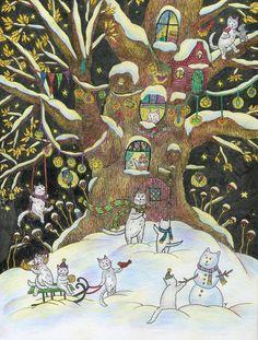 Просмотреть иллюстрацию Дом добрых белых котов в зимнем лесу из сообщества русскоязычных художников автора Yovin в стилях: Графика, Детский, Книжная графика, нарисованная техниками: Графика, Смешанная техника, Тушь.