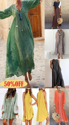 Comfortable soft fabric + simple design, a must-have for travel, with a versatile shape Casual Summer Dresses, Summer Outfits, Cute Outfits, Comfy Travel Outfit, Birkenstock Outfit, Boho Fashion, Fashion Outfits, 15 Dresses, Discount Dresses