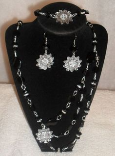 3 Piece Black, White & Silver Necklace Set, Bracelet  & Earrings #ShesGifted