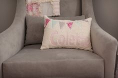Personalized Accent Pillow - can be used for the glider now and as a throw for the big girl bed later!