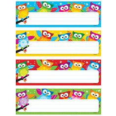 Owl Classroom Theme: desk tags - would be adorable return address labels. I will type vertical name labels, stick on each one and laminate as bookmarks for students. Or type an encouraging 'literacy' quote! I love to read! I can read!