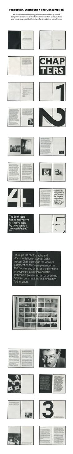 An analysis of contemporary photobooks informed by Walter Benjamin's exploration of mechanical reproduction and aura. Final year research project that I designed and made into a small book. Book Layout, Page Layout, Layouts, Editorial Layout, Editorial Design, Deck Design, Layout Design, Research Poster, Design Research