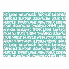 KESS InHouse Just L 'Lux Writing Wht Teal' White Typography Dog Place Mat, 13' x 18' ** For more information, visit now