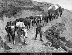 An Ox Train in the Mountains - Frederic Remington - www.frederic-remington.org