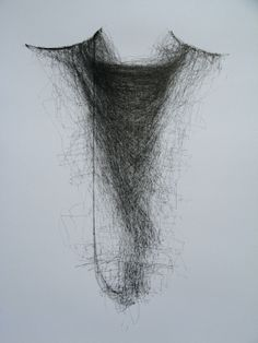 """Debbie Locke """"Dialogue XV"""" 2010 32.7 x 24.8 x 1.6 in This drawing is the one of the results of a kinetic drawing installation where 3 wall-based drawing machines, communicating via bluetooth, attempted to emulate the marks each one made. The cycle ran continuously for 5 days."""