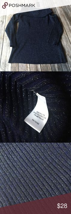 BNWT Cable & Gauge Metallic Cowl Neck Sweater Sparkly midnight blue Cowl Neck Sweater with 3/4 length sleeves. BNWT. See measurements, this stated large on tag but definitely looks like a medium from my view and measurements. Cable & Gauge Sweaters Cowl & Turtlenecks