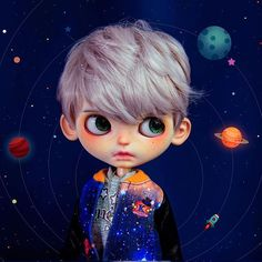 Blythe boy short hair wig and space jumper