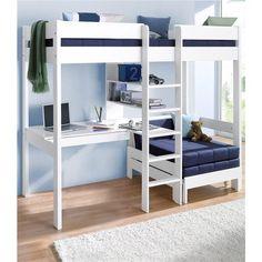 Lit mezzanine avec plan de travail + étagères prix promo Lit Enfant 3 Suisses 374.49 € TTC