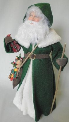 An Irish Santa  Although the English Father Christmas is the traditional Santa of Ireland, this old country gentleman dressed in the green of 'the Emerald Isle', and loaded with Christmas toys, provides a novel rendition of how an Irish Santa could appear.