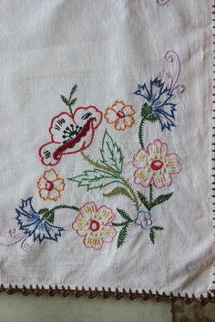 2 Vintage embroidered linen table toppers spring by TulipVintage, $20.00