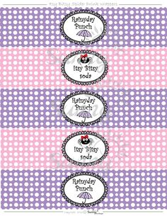 Itsy Bitsy Spider printable Drink Wrappers. $4.00, via Etsy.