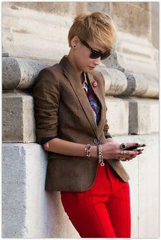 Art Symphony: Red Pant Addiction, tan blazer