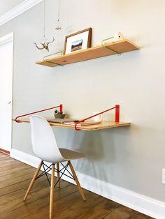 Floating Hairpin Desk Brackets - Desk - Colored or Raw Steel - desk organization office Wall Mounted Desk, Wall Desk, Desk Shelves, Desk Organization Diy, Diy Desk, Floating Desk, Floating Shelves, Diy Standing Desk, Diy Regal
