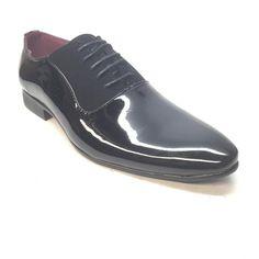 Alberto Fellini Black Patent PU Leather Saddle Dress Shoe - Dudes Boutique High End Shoes, Pu Leather, Derby, Oxford Shoes, Dress Shoes, Lace Up, Boutique, Shopping, Black
