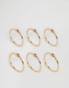 £6ASOS Pack of 6 Dot Dash Ring Pack