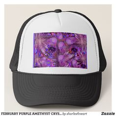 FEBRUARY PURPLE AMETHYST CRYSTALS & GEMS TRUCKER HAT - Fashionable Urban And Outdoor Hunter Farmer Trucker Hats By Creative Talented Graphic Designers - #hats #truckerhats #fashion #design #designer #fashiondesigner #style #trends #bargain #sale #shopping - Trucker Hats are a great way to cheer your team or promote your brand or make a unique fashion statement or simply keep the sun out of your eyes - Customizable trucker hats are the perfect way to look cool and memorable - Trucker Hats can…