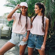 Pastels + denim = Shop these super cute outfits now just in time for the long weekend #peppermayo