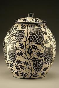 Owl Cookie Jar by Jennifer Falter. Wheel-thrown porcelain. via Artful Home