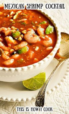 Mexican Shrimp Cocktail starts with a savory tomato sauce made of ketchup. Add in avocado, shrimp and corn and one has the perfect summer food! #shrimpcocktail #ceviche #mexicanshrimpcocktail