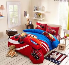 Lightning McQueen Cars Bedding Set Cotton Bedclothes Cartoon Disney Printed Bed Covers Boys Home Decor Single Twin Size Blue Red Toddler Comforter Sets, Cheap Bedding Sets, Kids Bedding Sets, Boy Bedding, Disney Cars Bedroom, Disney Bedding, Lightning Mcqueen, Bed Sets, Red Home Decor