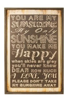 """""""You Are My Sunshine"""" Wood Sign"""