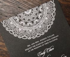 White Ink Mandala Wedding Invitation