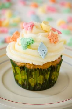 Lucky Charms cupcakes for St. Patrick's Day. I think I would dye the icing green with food coloring for an extra kick.