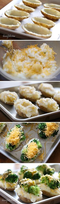 Broccoli & Cheese Twice Baked Potatoes: Weight Watchers: 3 Points ~ 3 Points+ Going to try these with sweet potatoes!