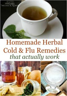 Use these easy herbal home remedies for cold and flu that actually work from a certified herbalist. I can't wait to try these homemade herbal recipes out this year! Best thing, these are all whipped up with common kitchen herbs and ingredients. Natural Remedies For Allergies, Allergy Remedies, Natural Headache Remedies, Cold Home Remedies, Natural Health Remedies, Herbal Remedies, Natural Cures, Homemade Cold Remedies, Natural Foods