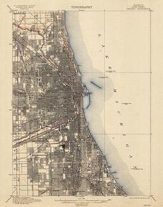 Antique USGS Topographic Map of Chicago (1901)