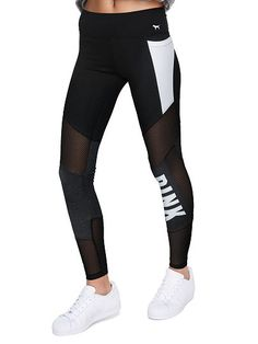 80d9e6a6d8 VS Pink Cotton Mesh Pocket Legging in Black/White Pink Workout, Workout  Pants,