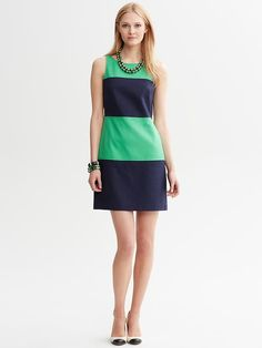 """Banana Republic Trendy colorblocking and textured cotton makes this sheath a go to for work and beyond. Sleeveless. Invisible back zip. On seam pockets. Fully lined. Body length: Petite: 32 3/4""""; Regular: 35 1/2""""; Tall: 37 1/2"""". Size 16 available exclusively online in the U.S."""