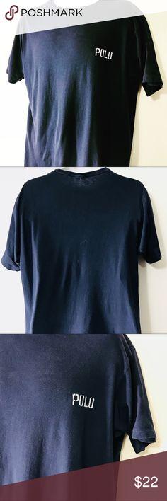 1ffff2a8e3620 Polo Ralph Lauren 90s T Shirt L Spellout Navy VTG Vintage Polo by Ralph  Lauren T