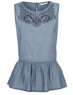 New Look Blue Chambray Embroidered Peplum Top