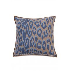 e25c49872c5 RANI ARABELLA Cashmere blend knitted #leopard pillow with suede piping in  Azure. 21