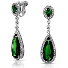 Bling Jewelry Bling Jewelry Cz Emerald Color Teardrop Chandelier... ($46) ❤ liked on Polyvore featuring jewelry, earrings, green, drop earrings, emerald dangle earrings, cubic zirconia earrings, long dangle earrings and cz dangle earrings