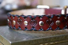 Leather Dog Collar  Leather Tooled Hearts  Custom by sevenannine, $18.00