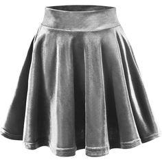 Urban CoCo Women's Vintage Velvet Stretchy Mini Flared Skater Skirt (42 RON) ❤ liked on Polyvore featuring skirts, mini skirts, flare skirt, velvet mini skirt, flared skater skirt, flared skirt and stretch skirts