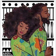 African American art is beautiful Black Love Art, My Black Is Beautiful, Beautiful Artwork, African American Art, African Art, Natural Hair Art, Natural Hair Styles, Hugs, Couple Noir