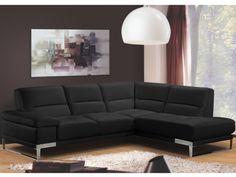 Canapé d'angle 100% cuir SONORA - Noir - Angle droit prix promo Canapé cuir Vente Unique 1 499.99 € TTC prix constaté* : 2 541.50 €