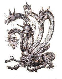 I got Jeremy Bastian's latest sketchbook so inktober number 19 is a tribute of sorts to one of my favourite illustrators Inktober - Hydra Medieval Fantasy, Dark Fantasy, Fantasy Art, Weird Creatures, Fantasy Creatures, Fantasy Character Design, Character Art, Strange Beasts, Monster Drawing