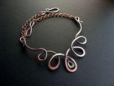 Necklace | Ruth Jensen.  Copper and faceted prasiolite briolette.