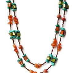 Extra Long Blue Green Caramel Brown Wrap Necklace/ by ALFAdesigns, $49.99