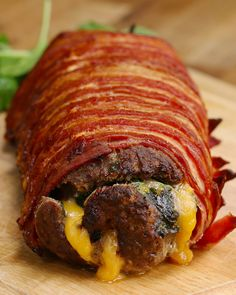 Bacon-Wrapped Burger Roll - Video Recipe, Ingredients list and easy step by step instructions. Visit us online for more Tasty Recipes! I Love Food, Good Food, Yummy Food, Tasty Videos, Food Videos, Cooking Videos, Meat Recipes, Cooking Recipes, Healthy Recipes