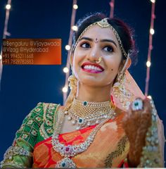 Traditional south indian bride in magix bridal makeovers.Bride in heavy diamond jewellery.
