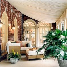 Like the use of fabric/curtains for sunroom.